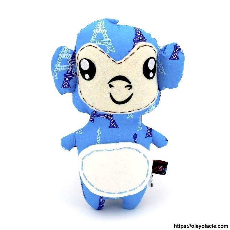 Peluche singe bleu ciel - 1