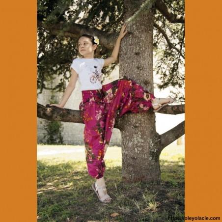 Sarouel enfant aquarelle ❤️ - 3 - Sarouel - Sarouel enfant 8-12 ans - Oley Ola cie® - Voile de coton imprimé aquarelle -