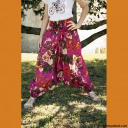 Sarouel enfant aquarelle ❤️ - 4 - Sarouel - Sarouel enfant 8-12 ans - Oley Ola cie® - Voile de coton imprimé aquarelle -