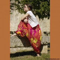 Sarouel enfant sunshine ❤️ - 2 - Sarouel - Sarouel enfant 8-12 ans - Oley Ola cie® - Voile de coton imprimé sunshine -