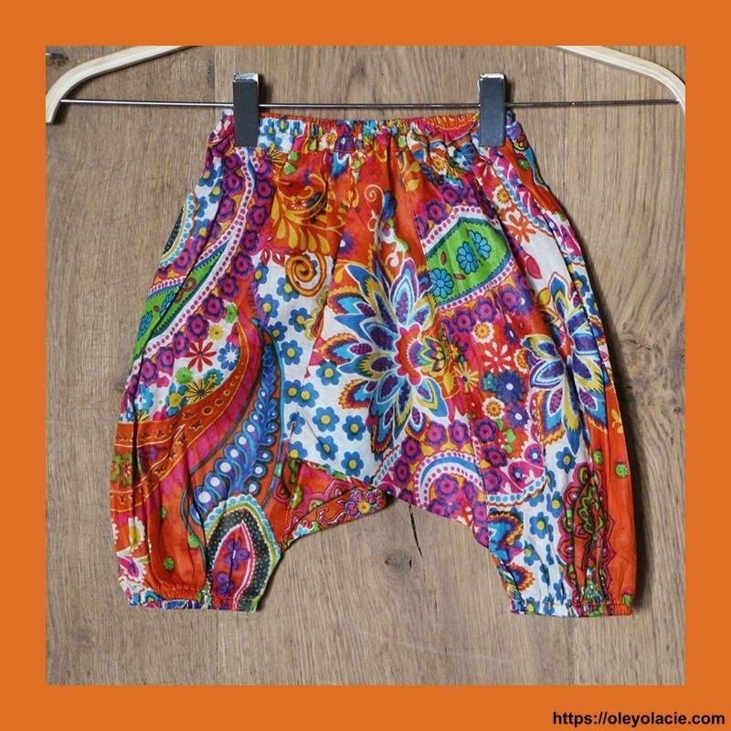 Sarouel bébé Bollywood ❤️ - 1 - Sarouel - Sarouel Bébé 6 -18 mois - Oley Ola cie® - Voile de coton imprimé Bollywood -