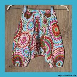 Sarouel enfant 3-6 ans polka-dot ❤️ - 1 - Sarouel - Sarouel enfant 3-6 ans - Oley Ola cie® - Voile de coton imprimé aquarelle -