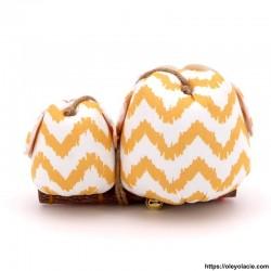 Couple 2 hiboux LM coloris jaune - 2 - Un grand & un moyen - Couple 2 hiboux LM coloris rose - Oley Ola cie ®  à personnaliser -