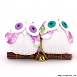 Couple 2 hiboux taille M coloris violet - 1 - Les moyens - Couple 2 hiboux taille M coloris violet - Oley Ola cie ®  à personnal