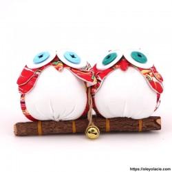 Couple 2 hiboux taille M coloris rouge - 1 - Les moyens - Couple 2 hiboux taille M coloris rouge - Oley Ola cie ®  à personnalis