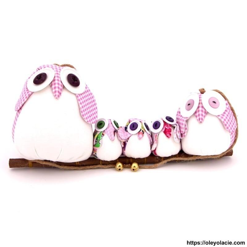 Famille 5 hiboux LSSSM coloris violet - Oley Ola cie ®
