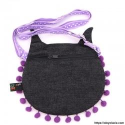 besace hibou grands yeux coloris violet - Oley Ola cie ®