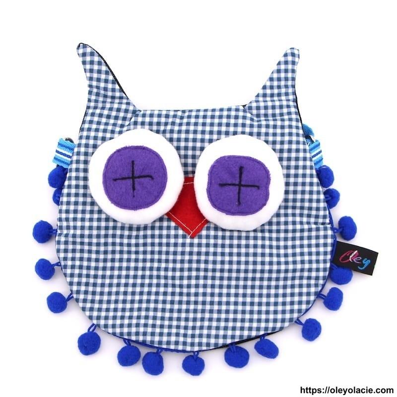 Besace hibou grands yeux coloris bleu - 7 - Besaces hibou - Besace hibou aux grands yeux coloris violet - Oley Ola cie ® -