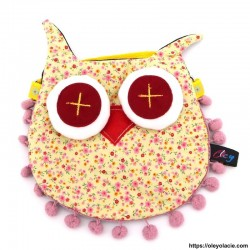 Besace hibou grands yeux coloris jaune - 1 - Besaces hibou - Besace hibou aux grands yeux coloris rouge - Oley Ola cie ® -