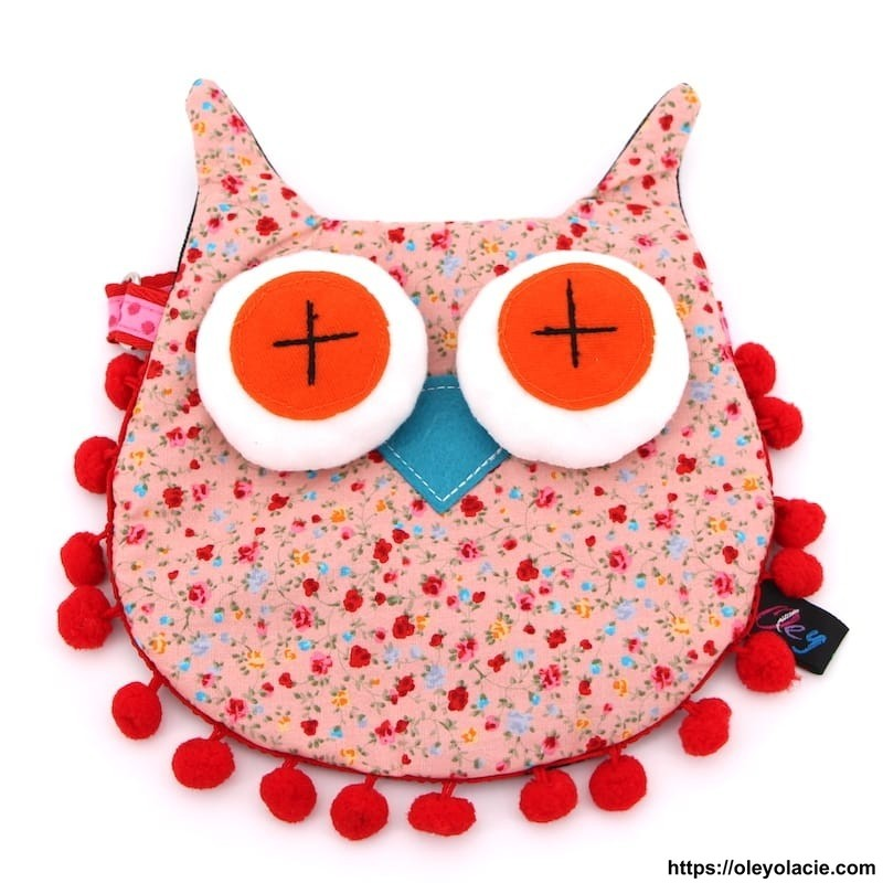 Besace hibou grands yeux coloris saumon - Oley Ola cie ®