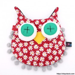 Besace hibou grands yeux coloris rouge - 9 - Besaces hibou - Besace hibou aux grands yeux coloris rouge - Oley Ola cie ® -