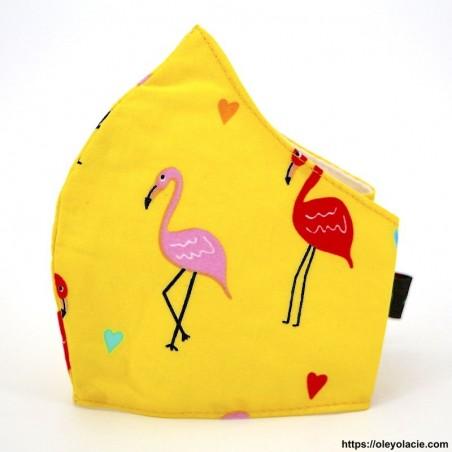 Masque alternatif flamingo 6 - 10 ans - 3 - Masques enfants 6 - 10 ans - Masques alternatifs en tissu flamingo 6 - 10 ans - Oley