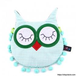 Besace hibou yeux fermés coloris vert - Oley Ola cie ®