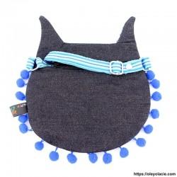 Besace hibou yeux fermés coloris bleu - Oley Ola cie ®
