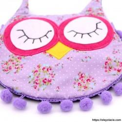 Besace hibou yeux fermés coloris violet - Oley Ola cie ®