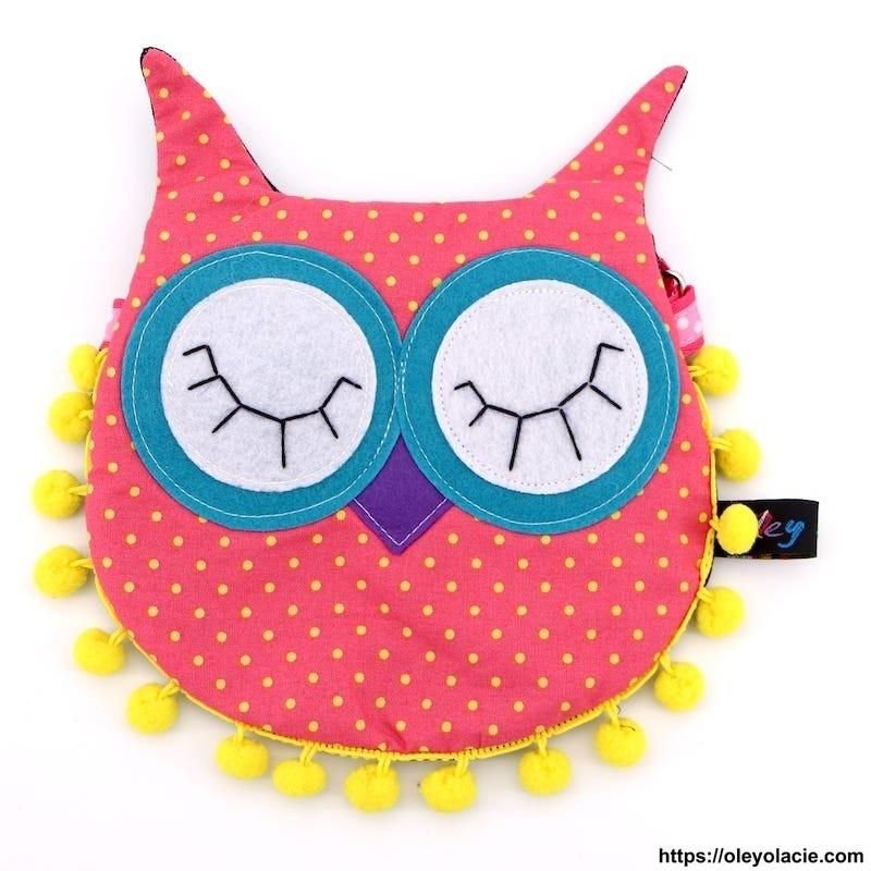 Besace hibou yeux fermés coloris rose - Oley Ola cie ®