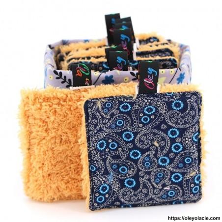Lingettes lavables carrés et sa box ☀️ motif cachemire - Oley Ola cie ®