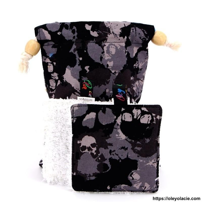 Lingettes lavables nomades ☀️ motif skull - Oley Ola cie ®
