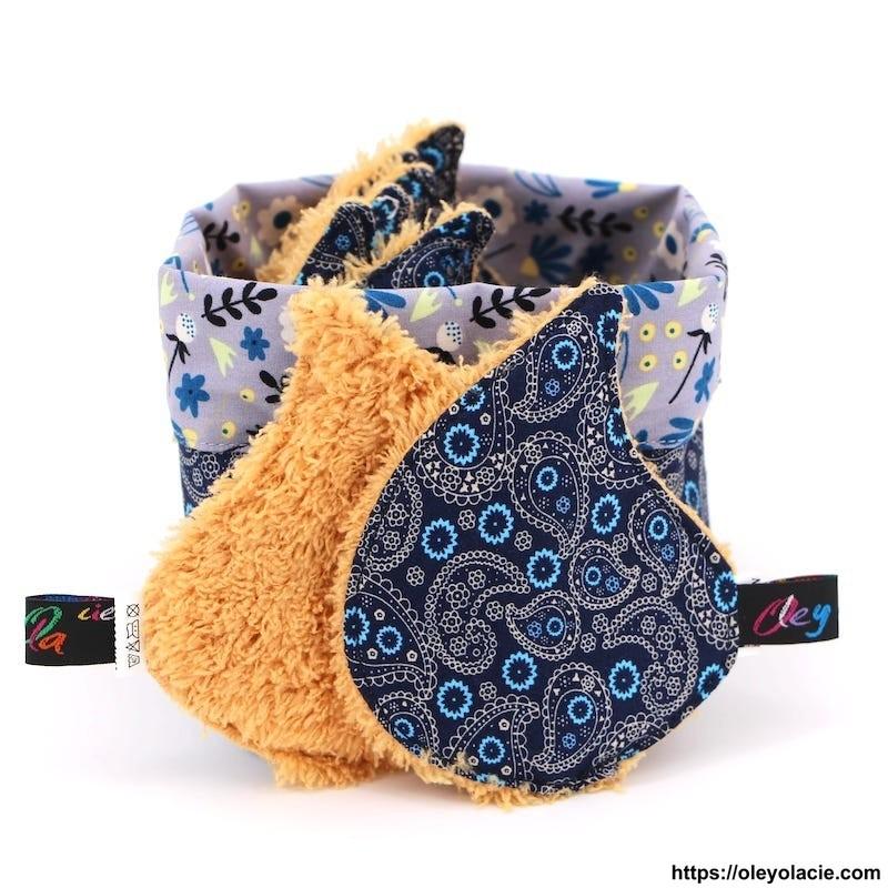 Lingettes forme goutte d'eau et sa box ☀️ motif cachemire - Oley Ola cie ®