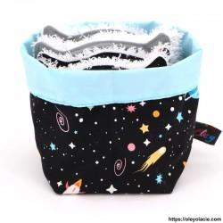 Lingettes lavables et sa box originale ☀️ motif galaxie