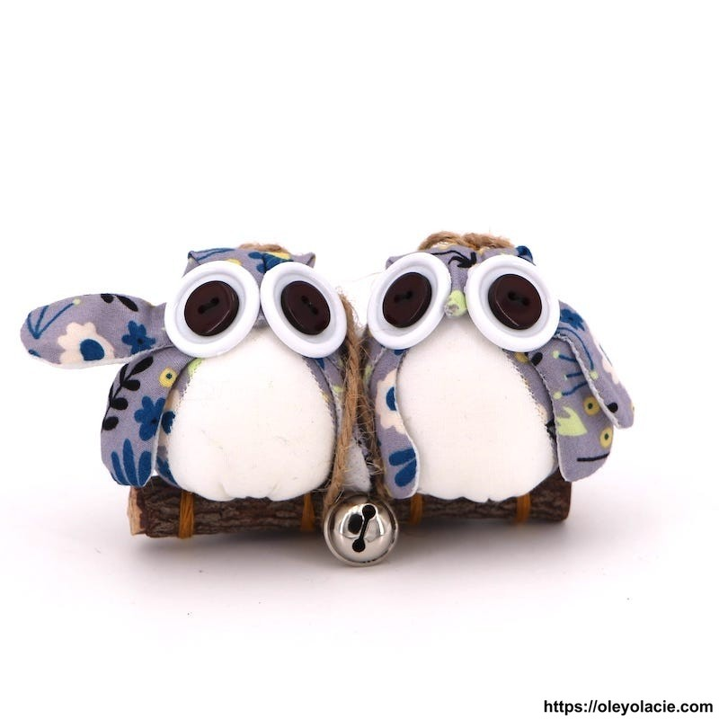 Couple 2 hiboux S coloris gris - Oley Ola cie ®