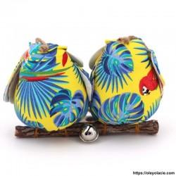 Couple 2 hiboux taille M coloris jaune - Oley Ola cie ®