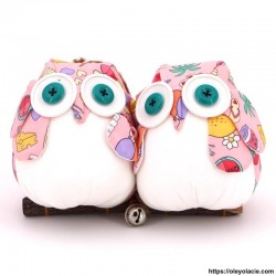 Couple 2 hiboux taille L coloris rose - Oley Ola cie ®