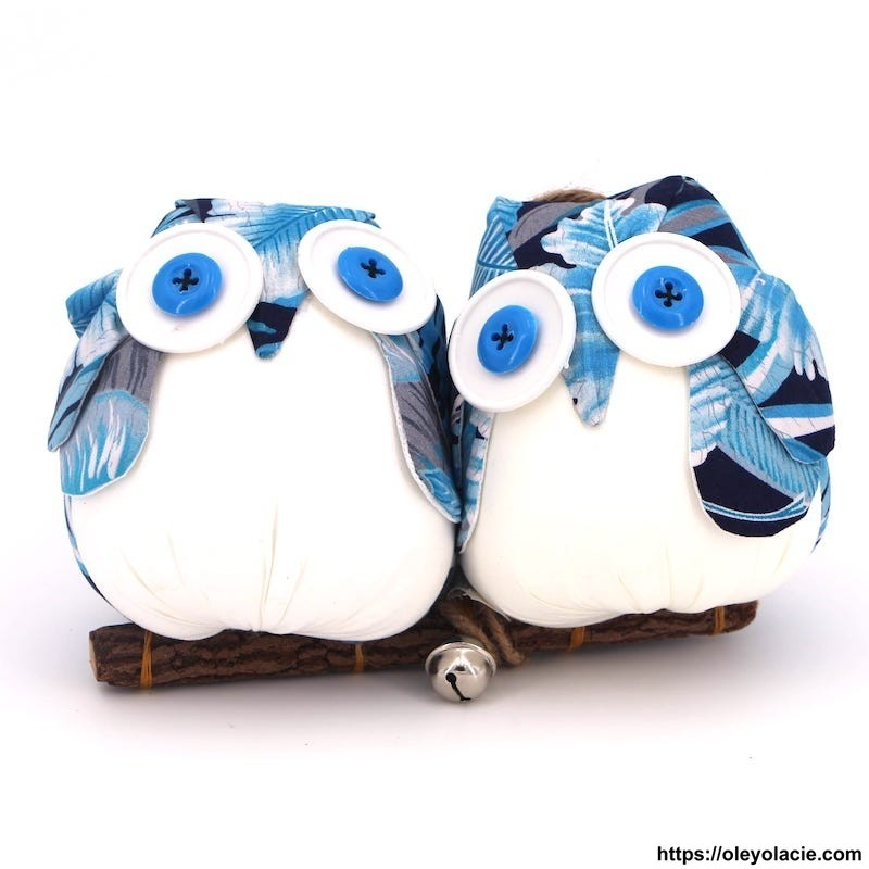 Couple 2 hiboux taille L coloris bleu - Oley Ola cie ®