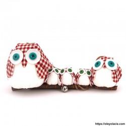 Famille 5 hiboux LSSSM coloris rouge - Oley Ola cie ®