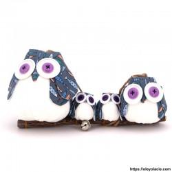 Famille 4 Hiboux LSSM coloris gris - Oley Ola cie ®