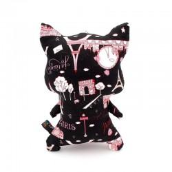 Peluche chat noir avec design tour eiffel de dos