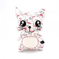 Peluche chat blanc et rose - 1